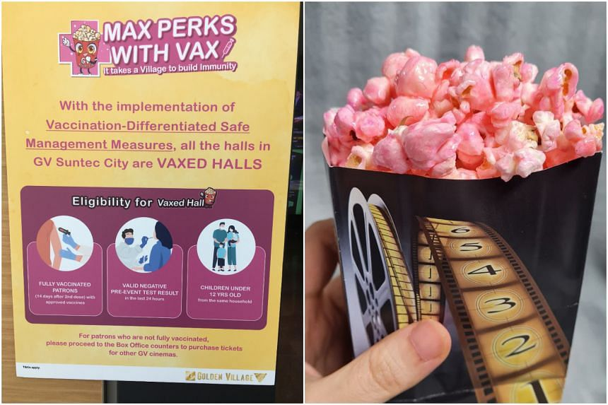 """Golden Village has opened """"Vaxed Halls"""" at four locations, while Cathay is offering vaccinated patrons free mini strawberry-glazed popcorn."""