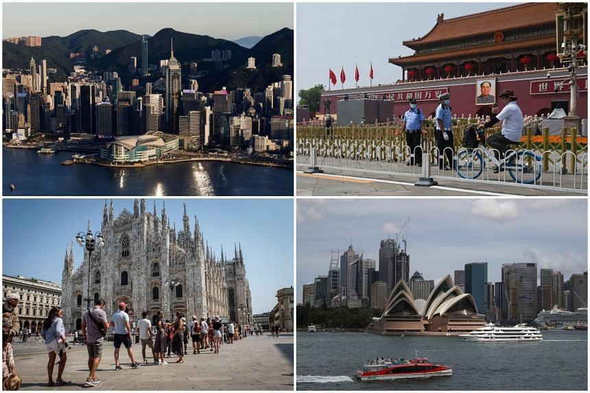 (Clockwise from top left) Hong Kong, China, Australia, Italy.