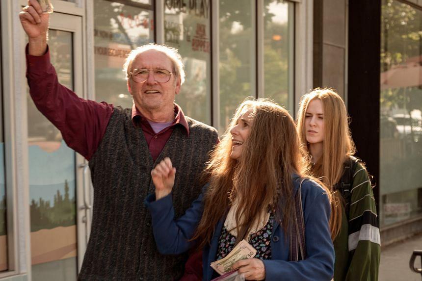 A still from the film Kajillionaire starring (from right) Evan Rachel Wood, Debra Winger and Richard Jenkins.