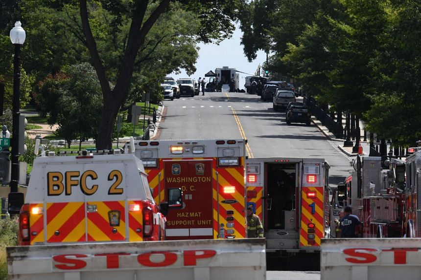 First responders and police investigate a possible bomb threat near the US Capitol and Library of Congress in Washington.
