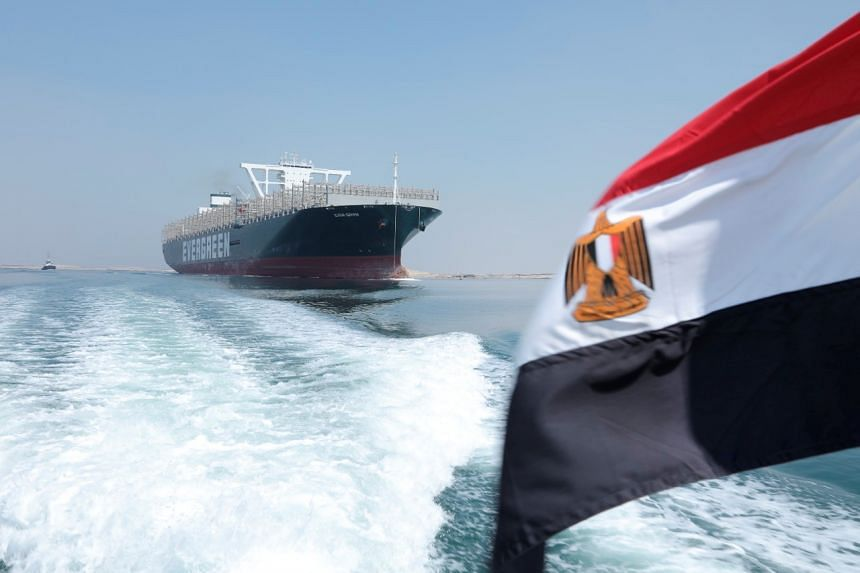 The Ever Given, one of the world's largest container ships, is seen after sailing through Suez Canal in Ismailia, Egypt, on Aug 20, 2021.