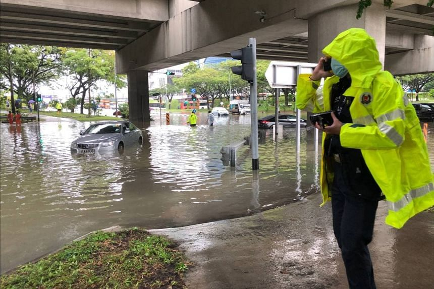 Water levels rose in some parts of Singapore due to the heavy rain.
