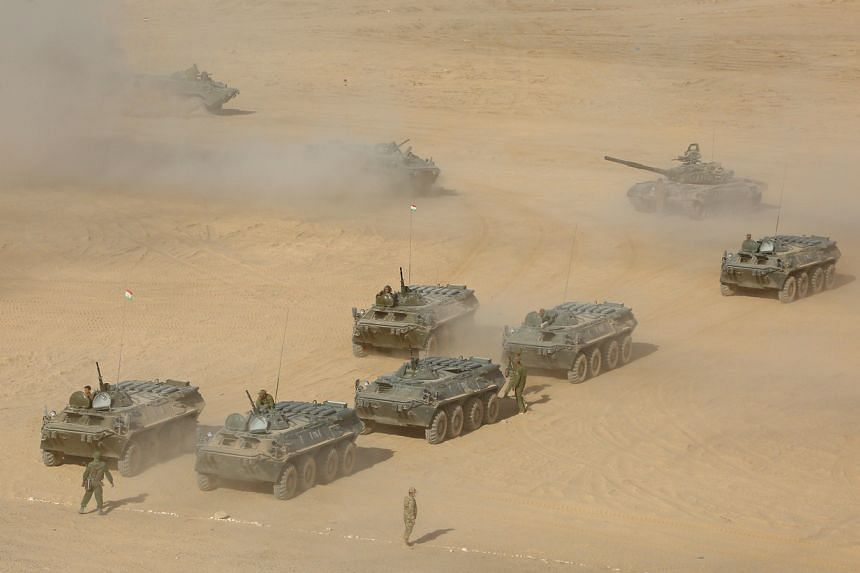 Military hardware and troops during joint military drills involving Russia, Uzbekistan and Tajikistan at the Harb-Maidon training ground in Tajikistan on Aug 10, 2021.