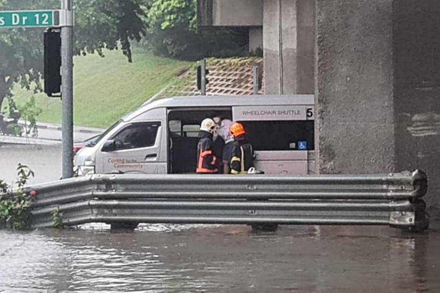 SCDF personnel at the junction of Pasir Ris Drive 12 and Tampines Avenue 10.