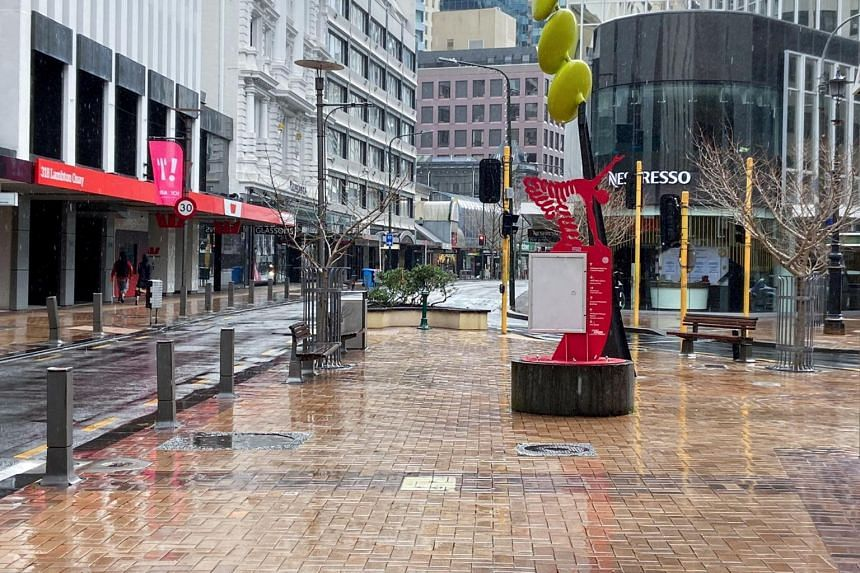 Lambton Quay is devoid of people on the first day of a lockdown in Wellington, New Zealand on Aug 18, 2021.