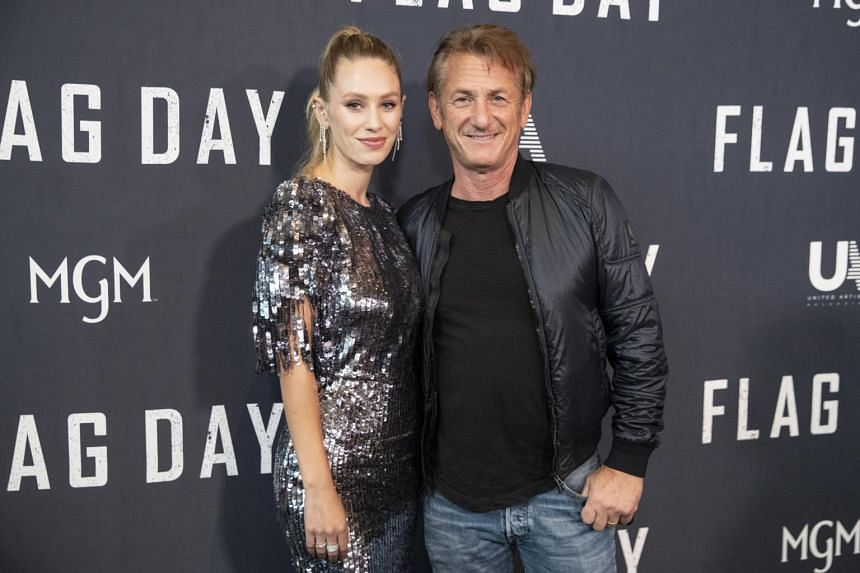 Dylan Penn (left) and her father Sean Penn at the special screening of the movie Flag Day in Los Angeles, on Aug 11, 2021.