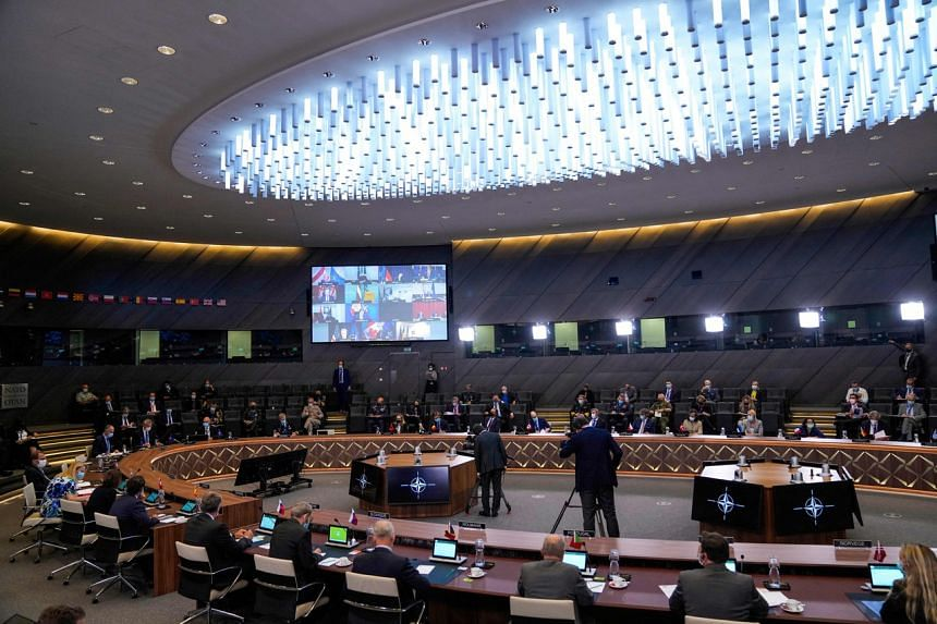 A screening of Nato foreign ministers in a virtual crisis meeting at the alliance's headquarters in Brussels on Aug 20, 2021.