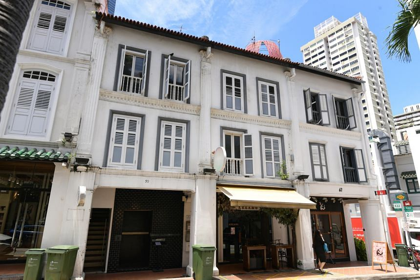 A pair of shophouses at 59 and 60 Duxton Road that had been owned by Mr Alan Choe were sold last month at $14.8 million.