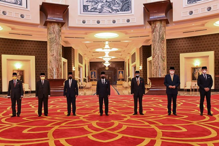 Sultan Abdullah Ahmad Shah (centre) with the other state rulers after their meeting at the palace on Aug 20, 2021.
