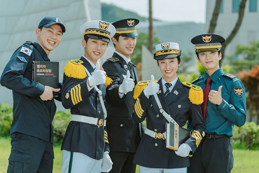 Cast members (from left) Lee Dal, Jung Jin-young, Choo Young-woo, Krystal Jung and Yoo Young-jae, in South Korean drama Police University.