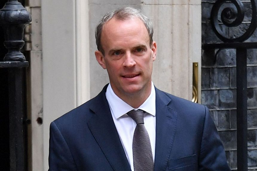 Britain's Foreign Secretary Dominic Raab is pictured leaving 10 Downing Street on Aug 19, 2021.