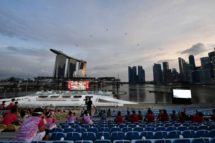The floating platform at Marina Bay is able to incorporate air, land, and sea elements.