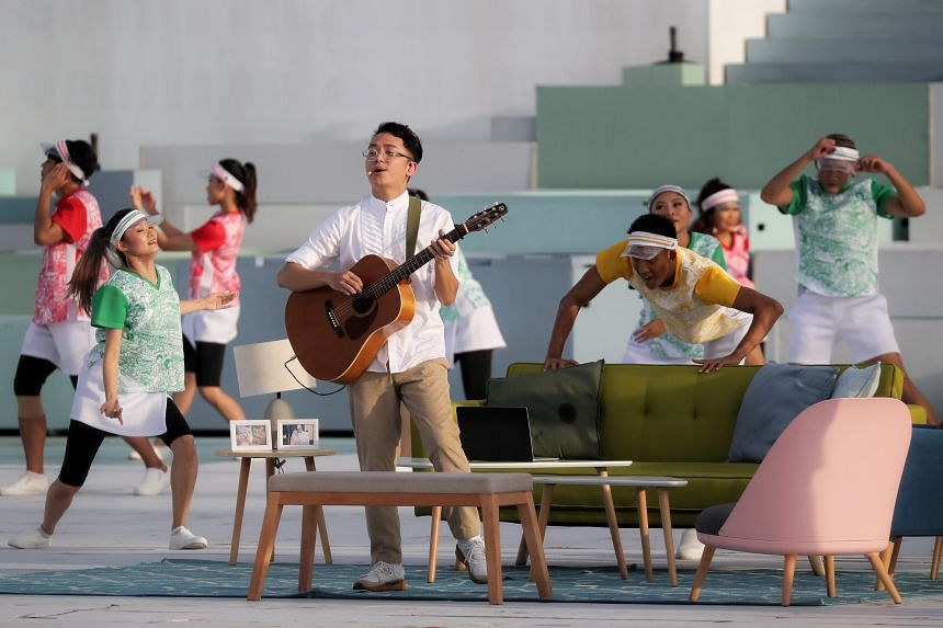 Singer-songwriter Sezairi Sezali performing Breathing City at the National Day Parade on Aug 21, 2021.