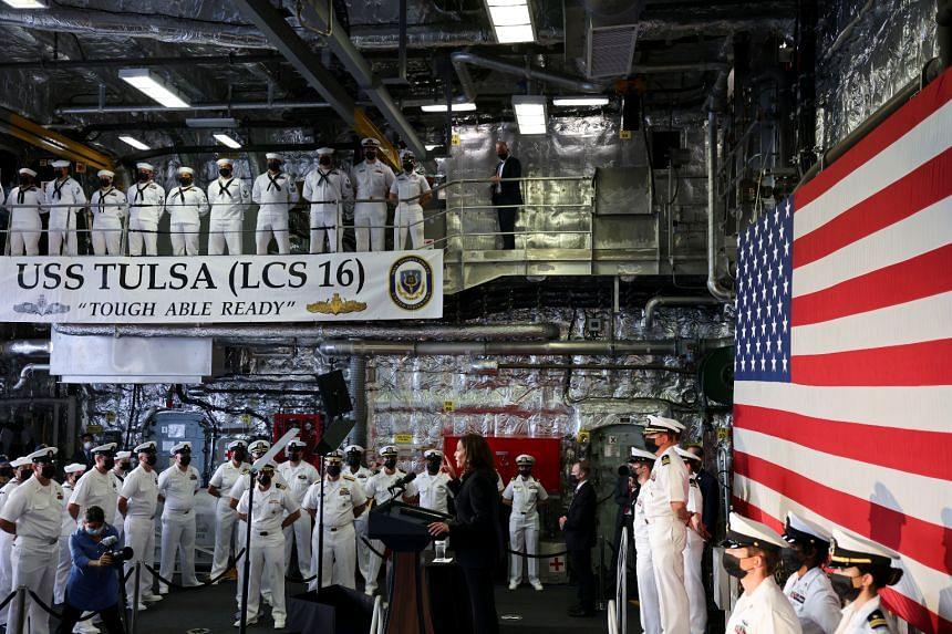 US Vice-President Kamala Harris on board the USS Tulsa on Aug 23, 2021.
