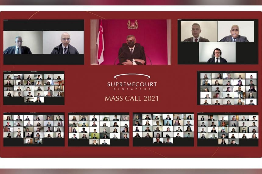 Chief Justice Sundaresh Menon (centre, masked) spoke at this year's mass call, on Aug 23, 2021.
