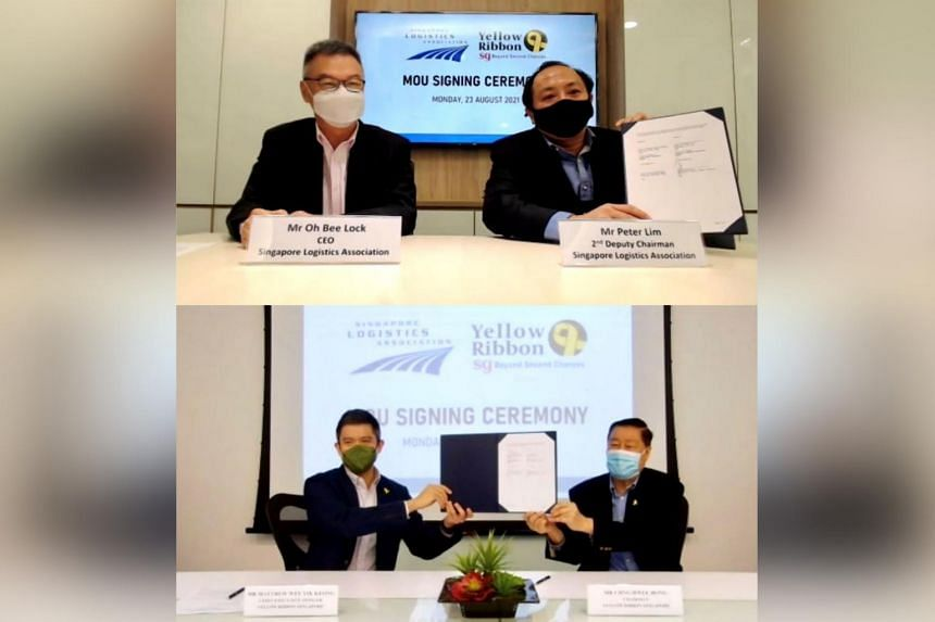 The tie-up was inked between Yellow Ribbon Singapore and the Singapore Logistics Association on Aug 23, 2021.