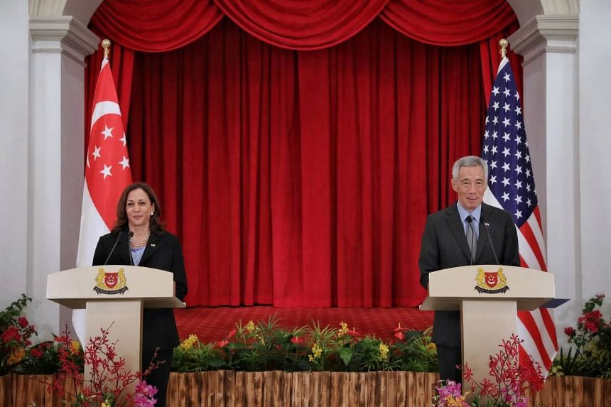 Prime Minister Lee Hsien Loong and US vice-president Kamala Harris holding a joint-press conference at the Istana on Aug 23, 2021.