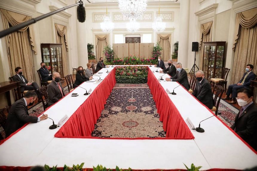 Prime Minister Lee Hsien Loong and US vice-president Kamala Harris during the delegation meeting at the Istana on Aug 23, 2021.