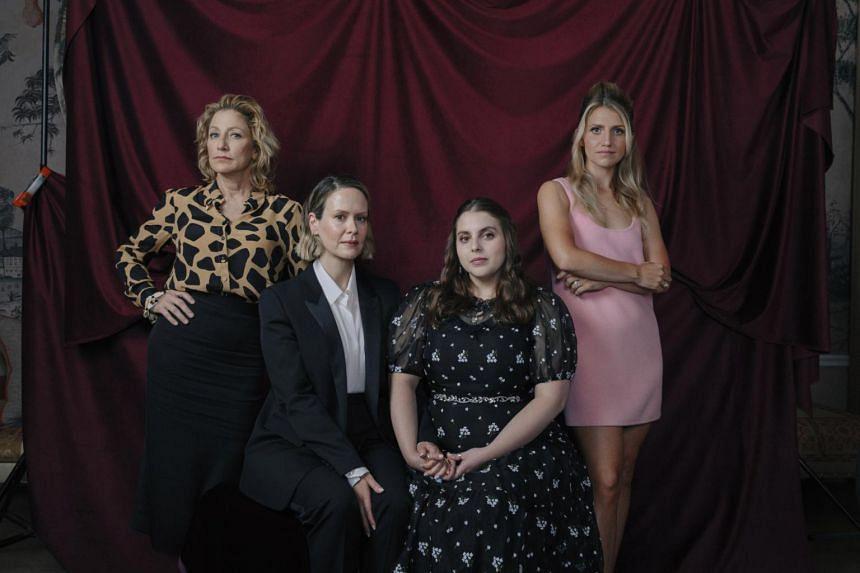(From left) Edie Falco, Sarah Paulson, Beanie Feldstein, and Annaleigh Ashford star in Impeachment: American Crime Story.