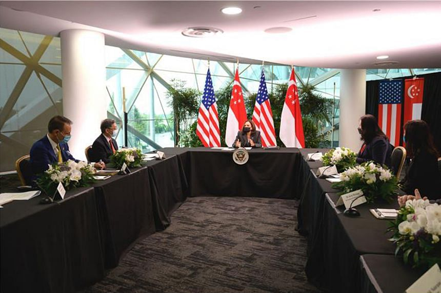 Trade and Industry Minister Gan Kim Yong and US Vice-President Kamala Harris during a round-table discussion on Aug 24, 2021.