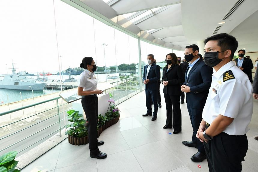 Ms Kamala Harris at the viewing gallery of the Fleet Command Building in Changi Naval Base accompanied by (from left) Dr Vivian Balakrishnan, Mr Zaqy Mohamad and Chief of Navy Rear-Admiral Aaron Beng on Aug 23, 2021.