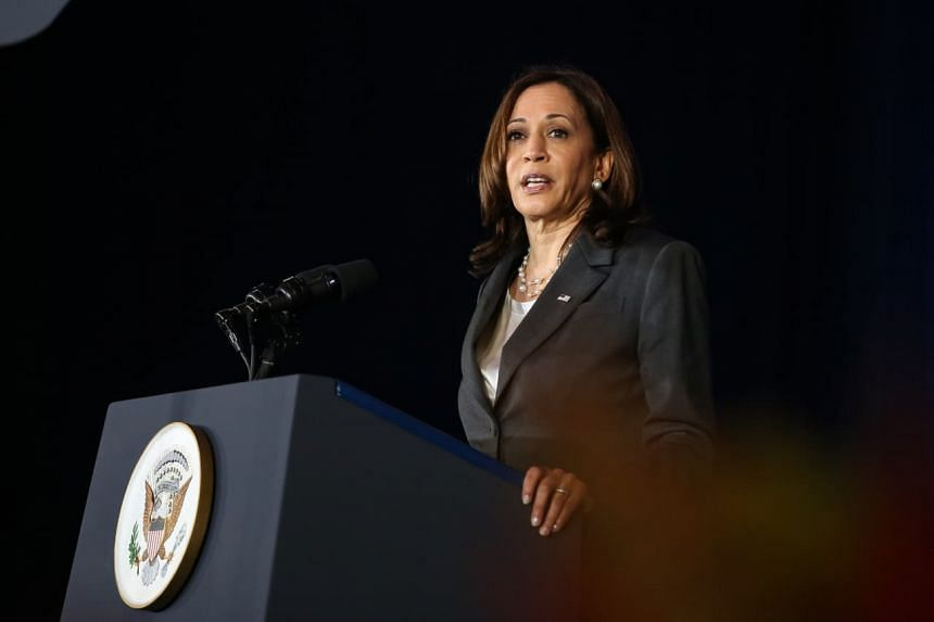 US Vice-President Kamala Harris speaking at an event hosted by the Lee Kuan Yew School of Public Policy and the US Embassy in Singapore at Gardens by the Bay on Aug 24, 2021.