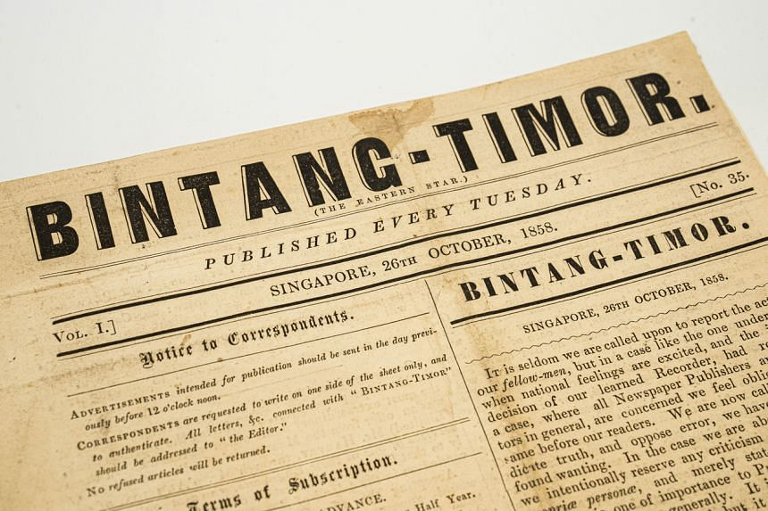 An issue of the weekly Bintang-Timor published in Singapore from 1858 to 1859.