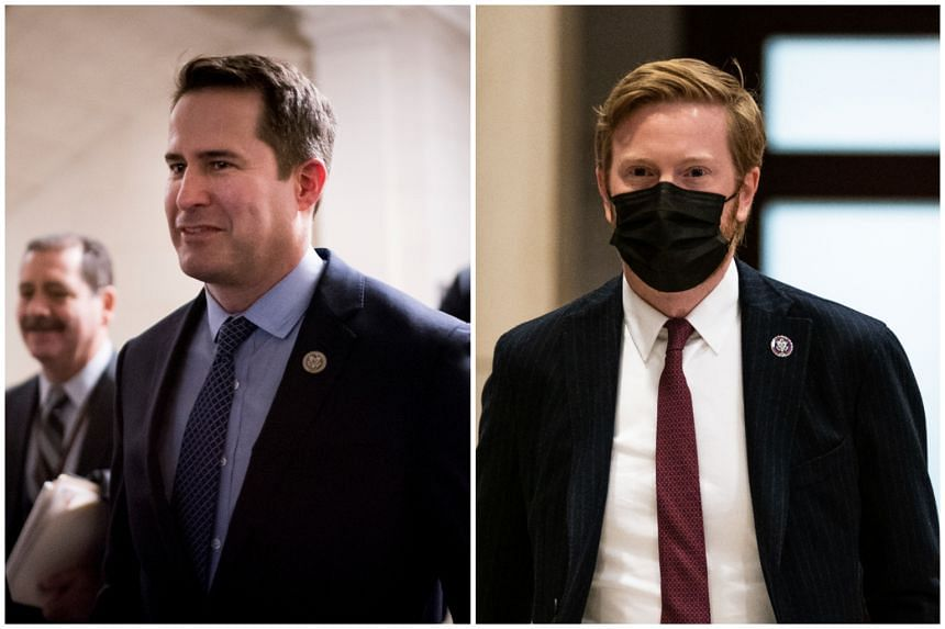 """Representatives Seth Moulton of Massachusetts (left) and Peter Meijer of Michigan said the purpose of their trip was """"to provide oversight on the executive branch""""."""