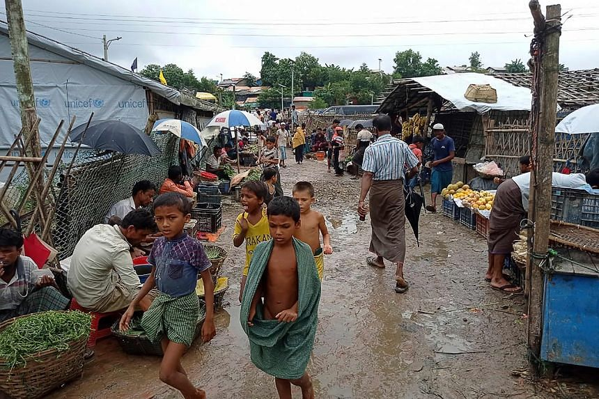 Rohingya refugees at Kutupalong refugee camp on Aug 25, 2021. Children as young as five took part in the surprise 15-minute march at the camp.