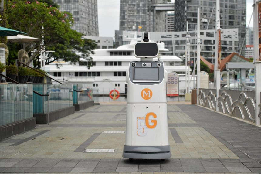 A robot at the marina managed by Keppel Land will allow operations staff to monitor the lobby without having to be physically present.