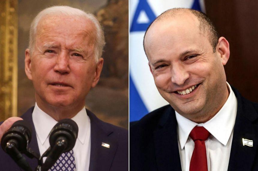 US President Joe Biden (left) will tell Israeli Prime Minister Naftali Bennett that he remains committed for now to diplomacy with Iran.