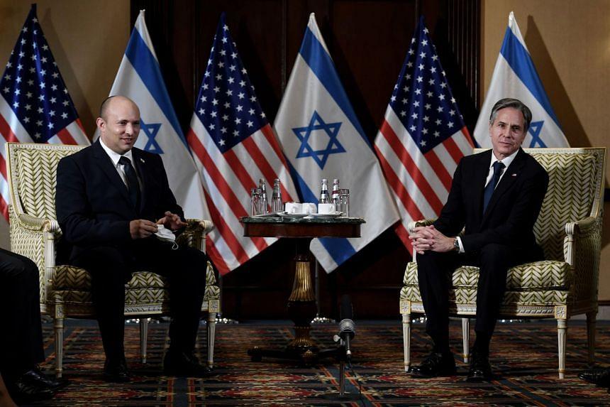 Israel's premier Naftali Bennett meeting US Secretary of State Antony Blinken in Washington, on Aug 25, 2021.
