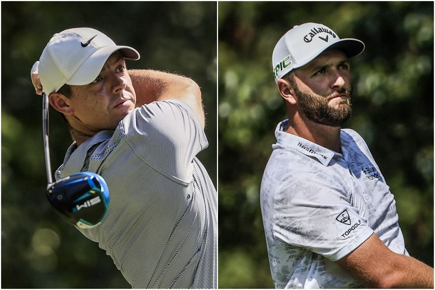 Rory McIlroy (left) and Jon Rahm during the first round of the BMW Championship golf tournament in Maryland on Aug 26, 2021.
