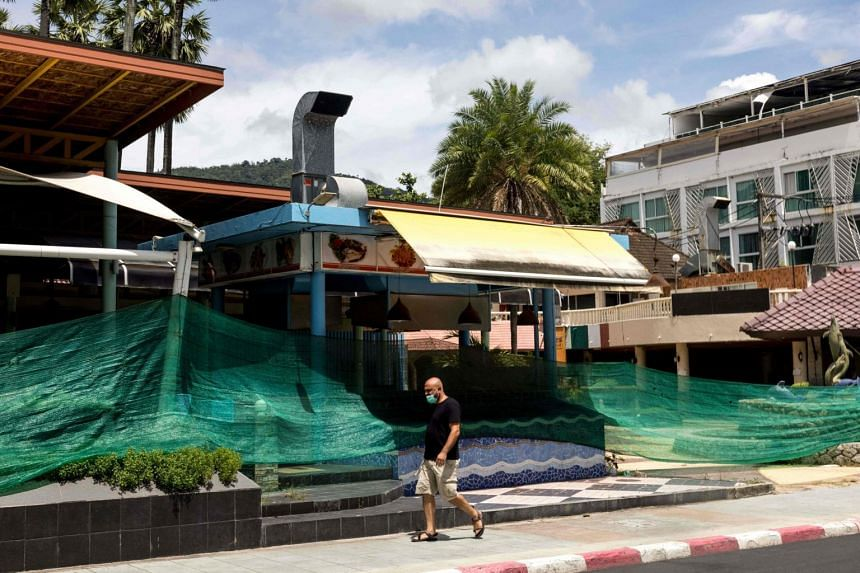 A closed restaurant in Phuket on Aug 14, 2021. Since early August, some Thai cities and provinces have been under strict curbs.
