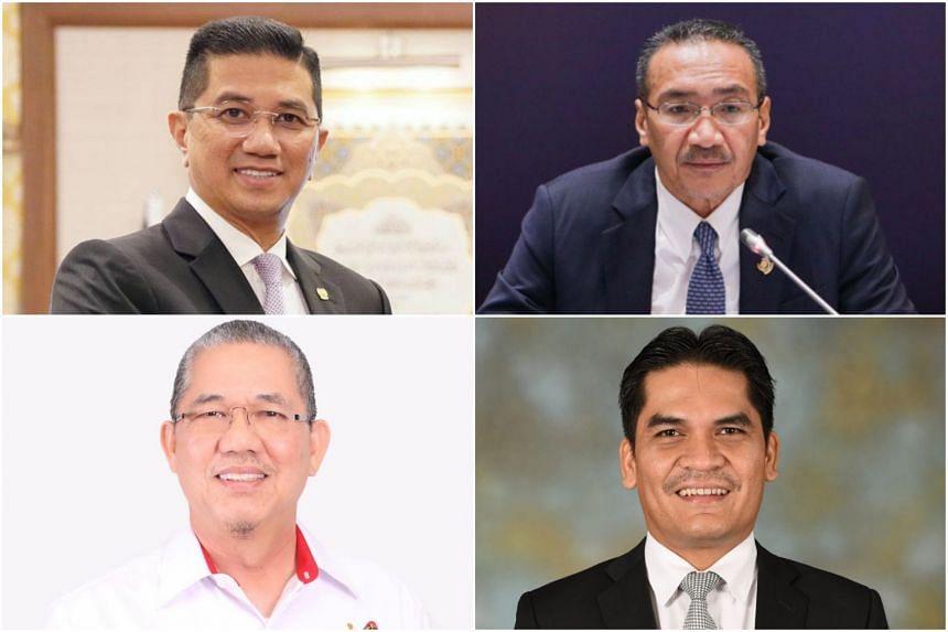 Senior Ministers retained include (clockwise, from top left) Mr Azmin Ali, Mr Hishammuddin Hussein, Mr Radzi Jidin and Mr Fadillah Yusof.