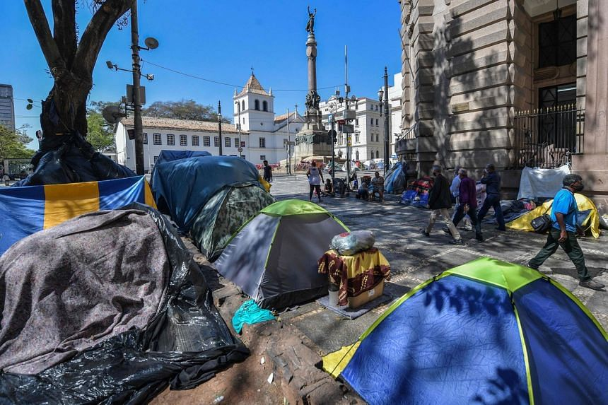 Tents of homeless people at Patio do Colegio in Sao Paulo, Brazil, on Aug 19, 2021.