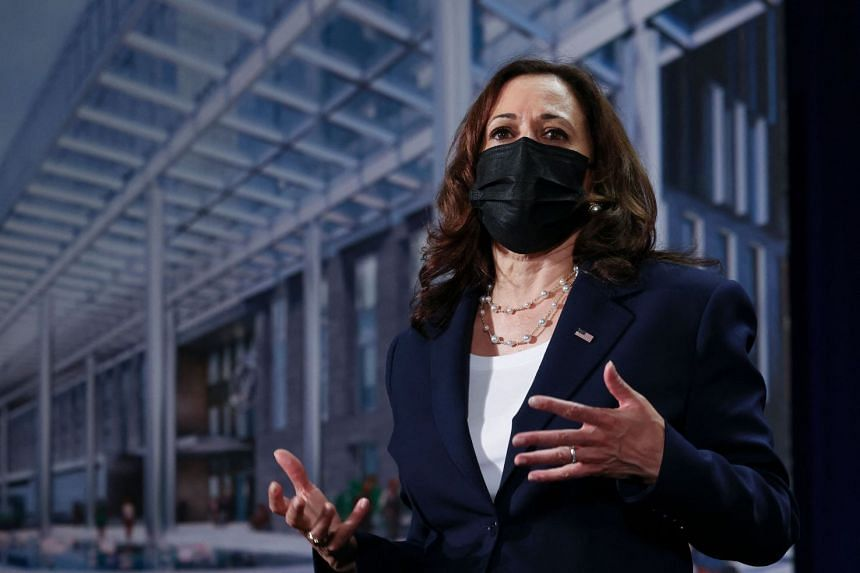 US Vice-President Kamala Harris delivers remarks during the official launch of the CDC Southeast Asia Regional Office in Hanoi on Aug 25, 2021.