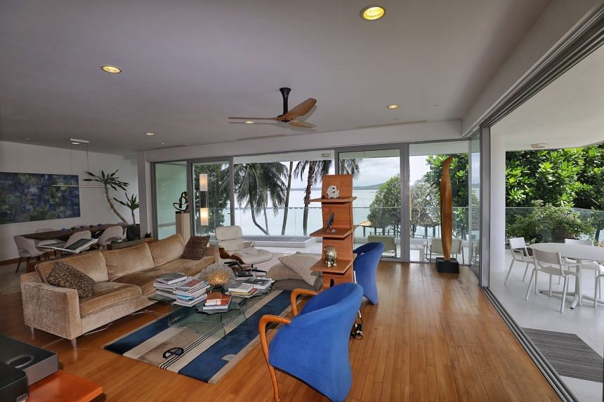 A second floor unit for sale at The Oceanfront in Sentosa.