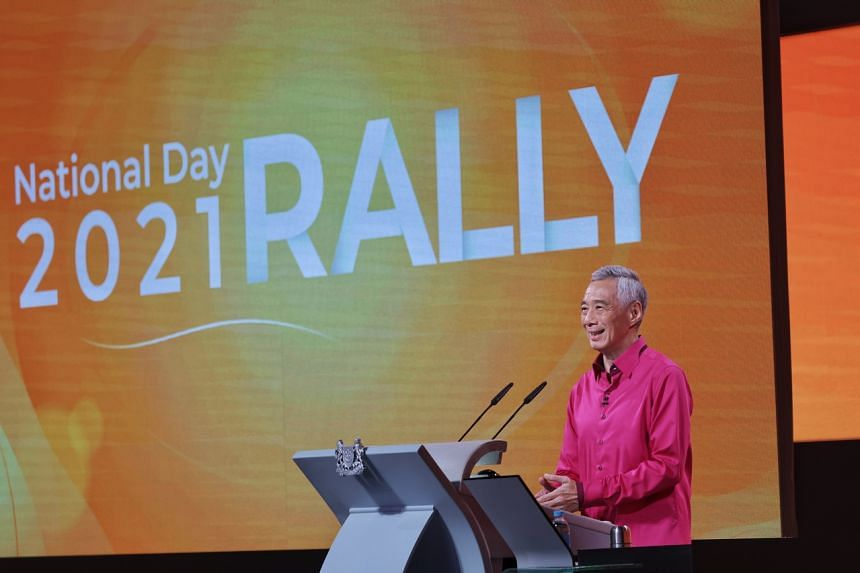 Prime Minister Lee Hsien Loong delivering his National Day Rally speech on Aug 29, 2021.