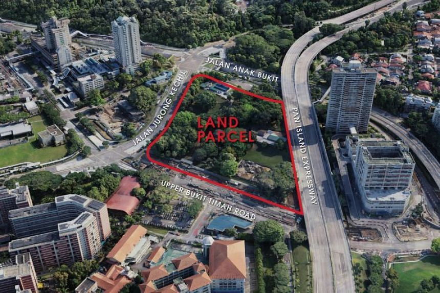 The land parcel is located at the junction of Upper Bukit Timah Road and Jalan Jurong Kechil, next to Beauty World MRT Station.