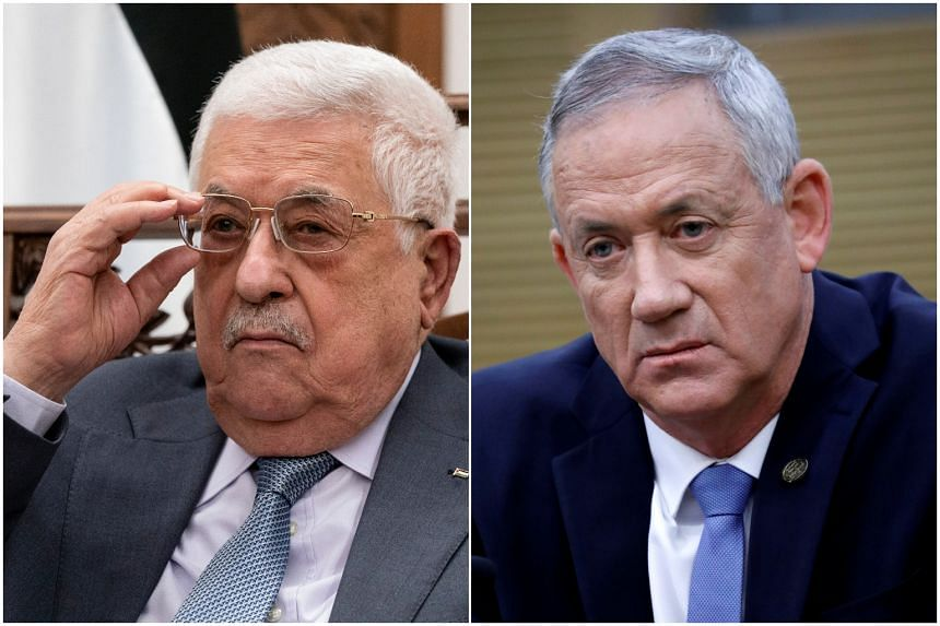 Israel's Defence Minister Benny Gantz (right) met with Palestinian president Mahmoud Abbas in Ramallah on Aug 29, 2021.