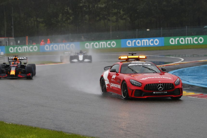 The safety car sets the pace during the Belgian Grand Prix on Aug 29, 2021.