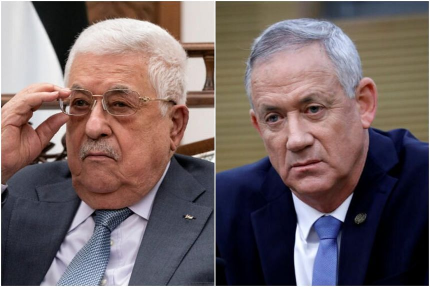 Palestinian President Mahmoud Abbas (left) and Israeli Defence Minister Benny Gantz discussed shaping security and economic situations in the West Bank and in Gaza.
