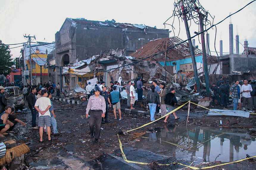 A photo from Oct 13, 2002, shows the site of a bomb blast in the tourist area of Kuta in Denpasar, Bali.