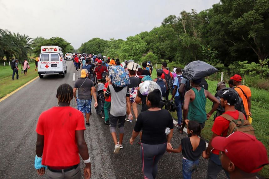 Migrants and asylum seekers heading to Mexico City, on a highway in Chiapas state on Aug 29, 2021.