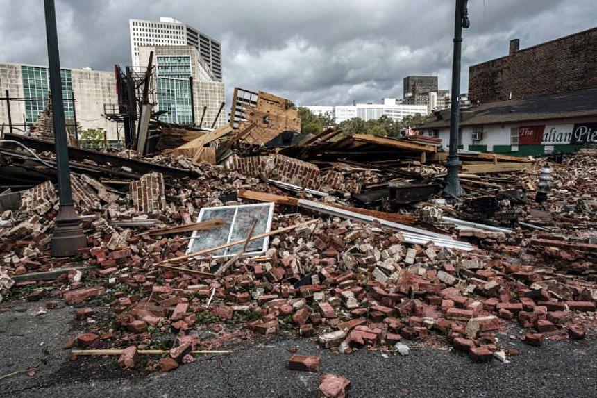 Bricks from a collapsed historical building in New Orleans, Louisiana, on Aug 30, 2021.