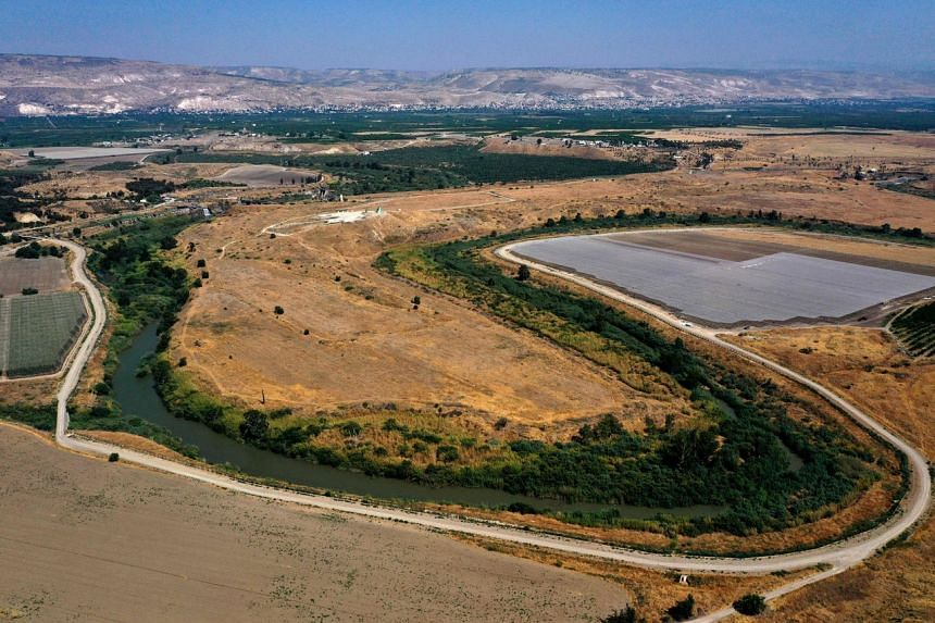 This photo taken on July 15, 2021 shows a section of the Jordan river flowing along the border between Israel and Jordan.