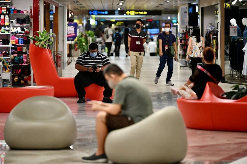 Visitors at basement two of Changi Airport Terminal 3 on Sept 1, 2021.