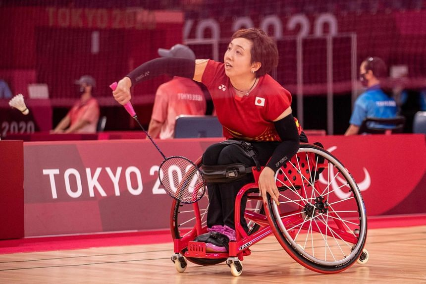 Japan's Yuma Yamazaki hitting a return against South Korea's Lee Sun-ae during the women's singles WH2 group match at the Paralympic Games on Sept 1, 2021.