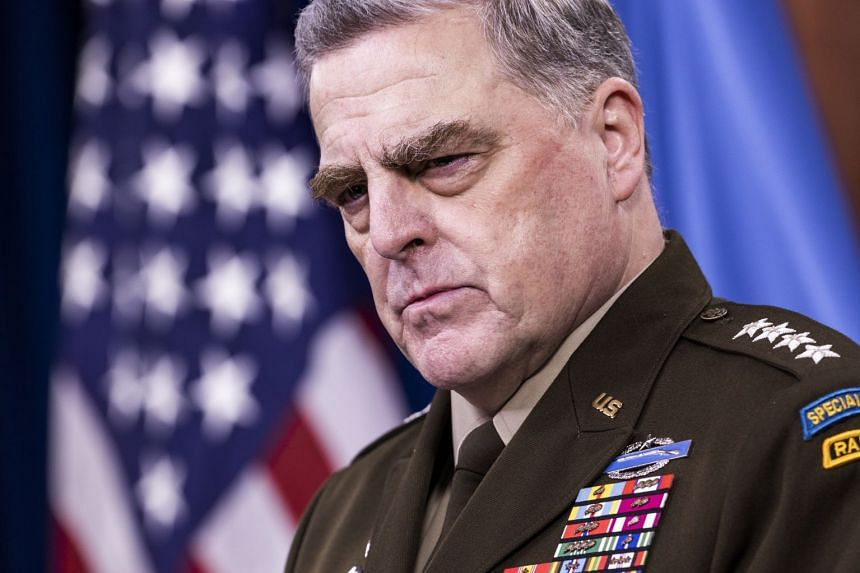 Army General Mark Milley speaks to the media about the end of the US war in Afghanistan from the Pentagon in Arlington, Virginia.